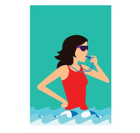 Vector illustration of a young woman in a pool Illusztráció