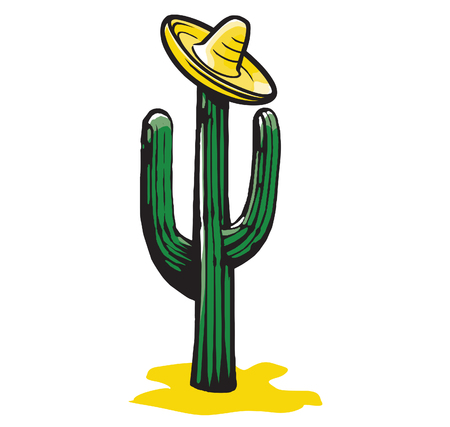 Vector illustration of a sombrero on a cactus