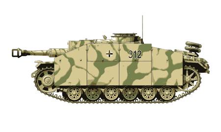 German WW2 StuH 42 Howitzer self-propelled artillery vector illustration Stock Vector - 120340254