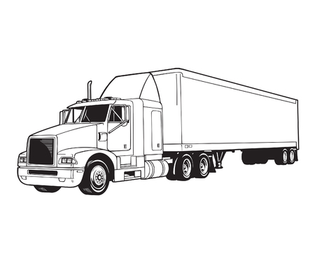 black and white vector illustration of a truck trailer Illusztráció