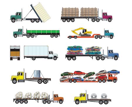 Vector illustrations of heavy transport trucks Иллюстрация