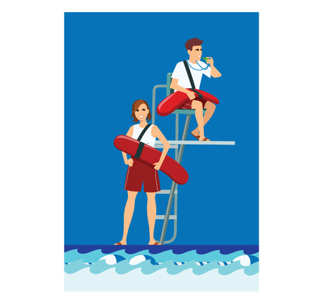 Vector illustration of 2 young lifeguards besides a pool