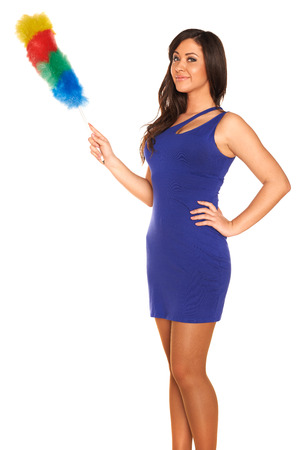 Girl in blue dress on white background photo