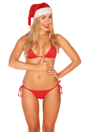 nudist young: Santa Claus girl in a bathing suit