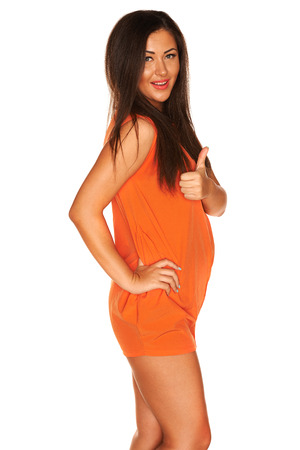 Girl in orange dress photo