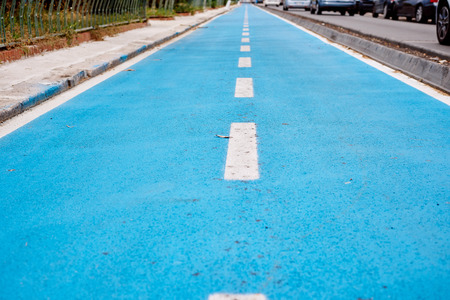 cycleway: Blue cycle path along the coast Terracina, Italy