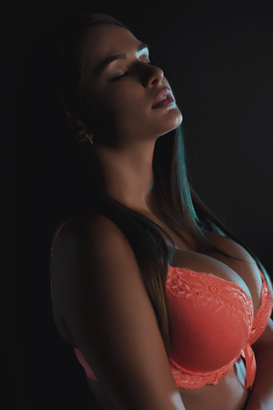 woman lingerie: Slim woman in lingerie posing in the shadows Stock Photo