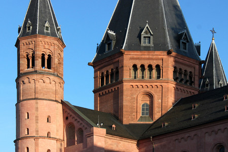 Close up of red sandstone towers in the evening sun at Mainz cathedral Stock Photo