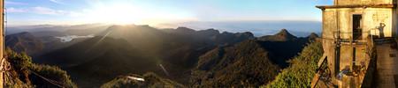 pada: Sunrise on top of Sri Pada  Adama ? ? s Peak (Sri Pada) in the mountains of Sri Lanka at backlight Stock Photo