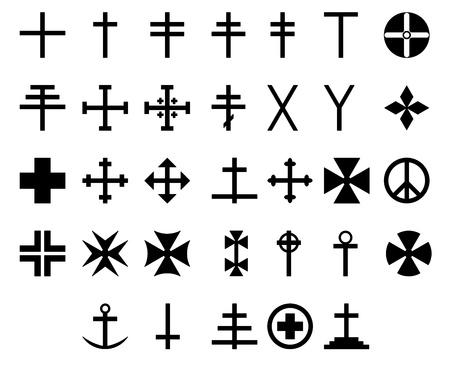 Illustration showing the 33 cross symbols Stock Photo