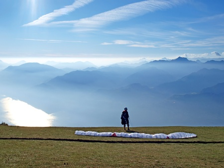 Paraglider in the mountains         Stock Photo - 8434417