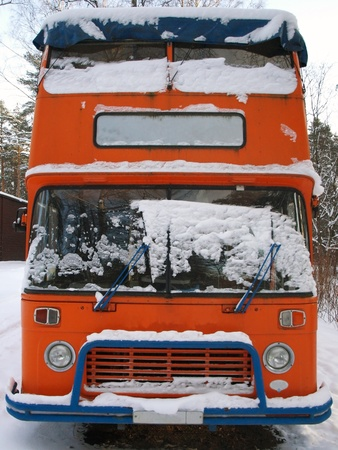 english bus: Retro double-decker English bus      Stock Photo