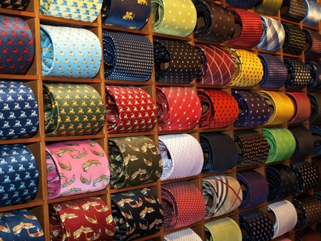 Ties with drawn gondolas in Venetian shop photo
