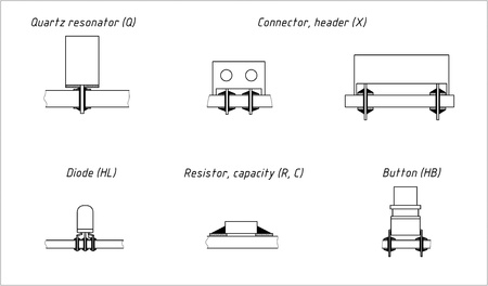Solder section of different elements on printed circuit board photo