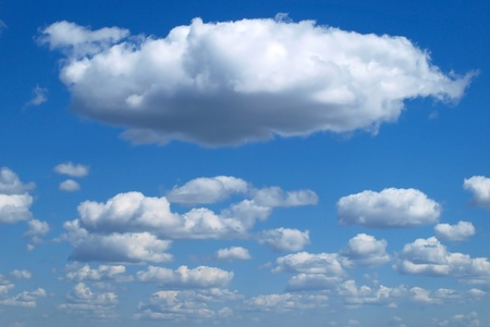 cloud: Fluffy clouds on the blue sky