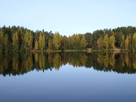 Ruhig, tiefen Wald See. Herbst-Saison