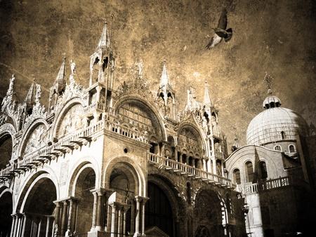 San-Marco. Retro postcard   Stock Photo