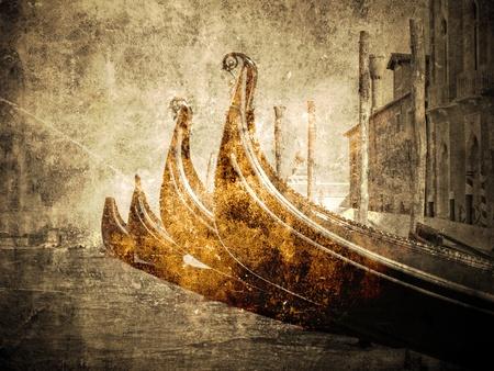 italian sea: Gondola. Vintage picture