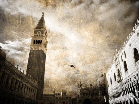 san marco: Venice, San-Marco. Retro postcard   Stock Photo