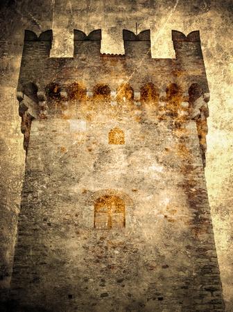 castillo medieval: Torre de la postal del castillo-retro
