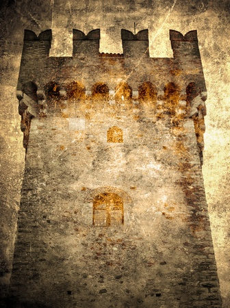 Tower of the castle- retro postcard        Stock Photo - 11215002