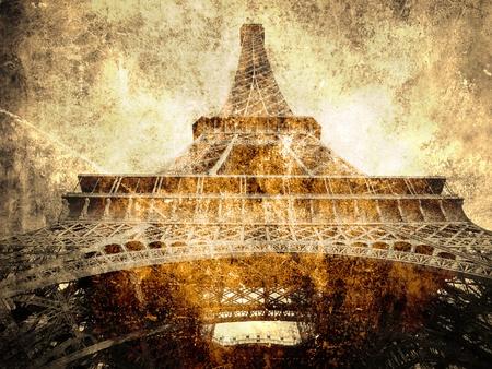 paris vintage: París, Torre Eiffel, símbolo