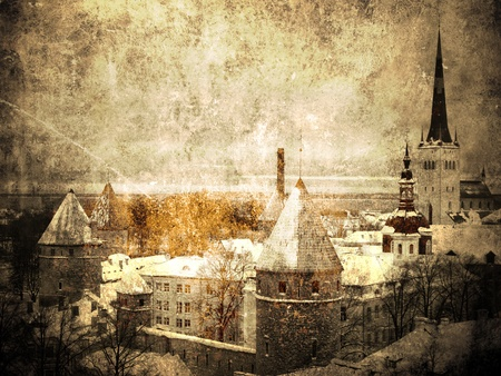 Old Tallinn. Vintage and faded picture        photo