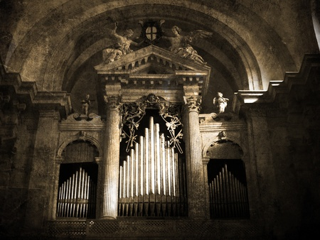 Old organ. Vintage picture          Editorial