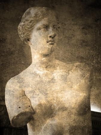 afrodite: Venere di Milo. Cartolina d'epoca e sbiadito Archivio Fotografico