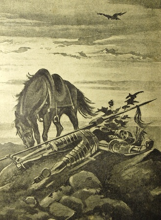 steed: Vintage illustration from the book Collected stories by A.S. Pushkin published in 18xx, Russia