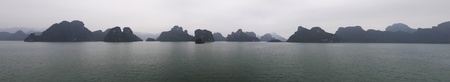 Panoramic view of the Ha Long bay by early morning photo