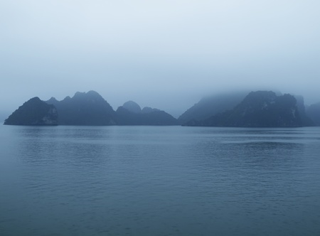 Foggy Halon bay in the Vietnam in early morning