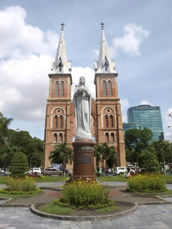 HO CHI MINH CITY, VIETNAM - APRIL 11: Notre Dame cathedral on April 11, 2012 in Ho Chi Minh city, Vietnam. The biggest catholic cathedral in Ho Chi Minh city. Catholicism- second religion in Vietnam