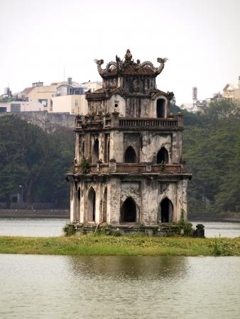 Tortoise Tower is the symbol of Hanoi,Vietnam         Stock Photo
