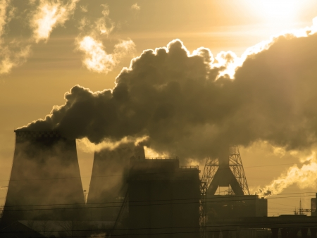 greenhouse gas: Danger  Air pollution  Sepia tone Stock Photo