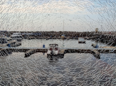 Port through the broken glass         photo
