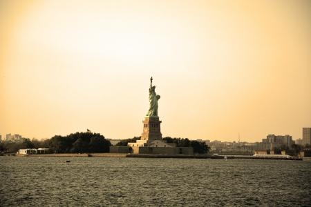 Statue of Liberty in sepia tone Stock Photo