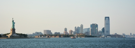 Panoramic image of lower Manhattan skyline from Staten Island Ferry boat, New York City photo