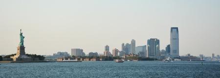 staten: Panoramic image of lower Manhattan skyline from Staten Island Ferry boat, New York City