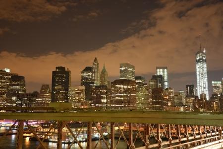 Lower Manhattan in New York City at night photo