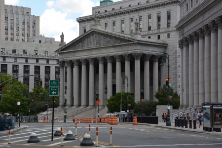 NEW YORK CITY - AUGUST 07  United States District Court building on August 07, 2013 in New York City, NY  New York is the biggest city in the United States