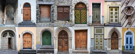 Set of colorful wooden doors and gates from old town of Tallinn photo