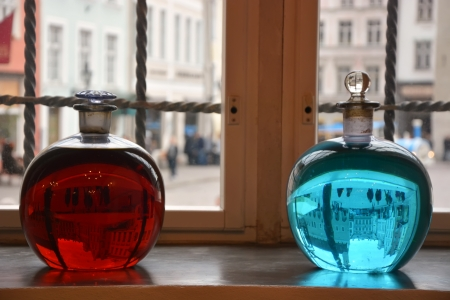Two alchemical bottles photo