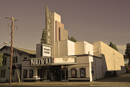 elysium: WILLITS, CA, USA - AUGUST 15  Willits cinema in sepia tone on August 15, 2013  Willits is a heart of Mendocino County, California, United States