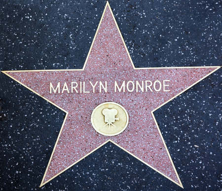 HOLLYWOOD - AUGUST 23  Marilyn Monroe star on Hollywood Walk of Fame on August 23, 2013 in Hollywood, California