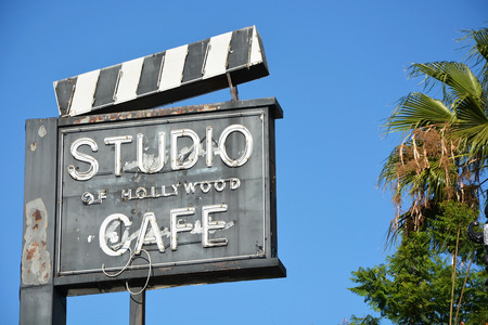 HOLLYWOOD - AUGUST 23  Cafe along the Hollywood Walk of Fame on August 23, 2013 in Hollywood, California