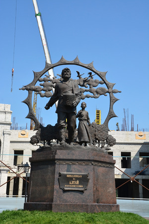 colonizer: BARNAUL, RUSSIA- JUNE 25: Monument to the settlers on June 25, 2014 in Barnaul. Barnaul is a capital of Altai region