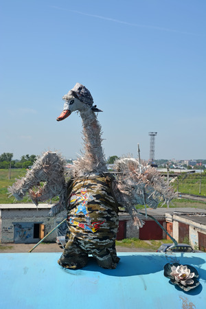 clothes interesting: BARNAUL, RUSSIA- JUNE 25: Funny swan on June 25, 2014 in Barnaul. Barnaul is a capital of Altai region
