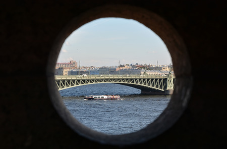 Saint-Petersburg city, Russia. View through the stony window