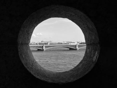 blagoveshchensky: Saint-Petersburg city, Russia. View through the stony window